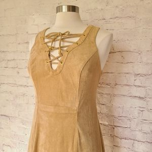 NWT Guess Tan Microsuede Lace Up Dress